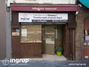 la magrana restaurante cuina meditarrania ingrup estudi diseno construccion granollers barcelona obra reforma interiorismo fachada antigua
