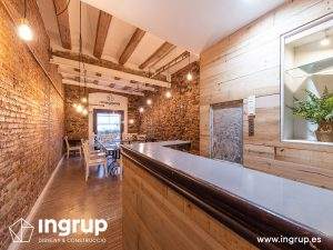 0010 la magrana restaurante cuina meditarrania ingrup estudi diseno construccion granollers barcelona obra reforma interiorismo comedor segundo piso despues paredes ladrillo