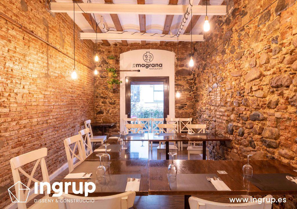 0021 la magrana restaurante cuina meditarrania ingrup estudi diseno construccion granollers barcelona obra reforma interiorismo comedor segundo piso detalle decoracion vinilo de corte