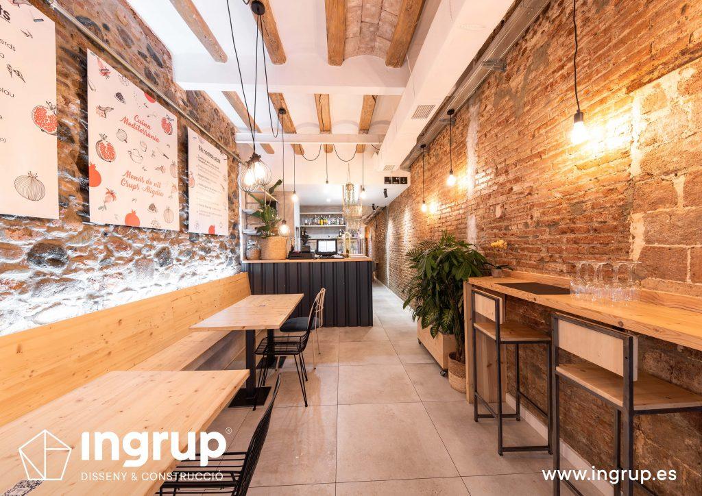 003 la magrana restaurante cuina meditarrania ingrup estudi diseno construccion granollers barcelona obra reforma interiorismo barra nueva decoracion entrada mobiliario