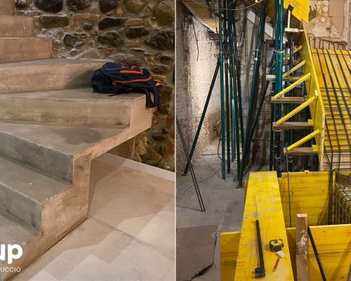 07 la magrana restaurant obra reforma construccion ingrup estudi construccion escaleras nuevas hormigon encofrado