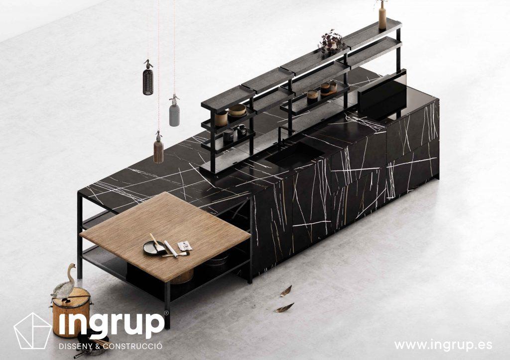 diseno-isla-cocinas-a-medida-rekker-partner-showroom-exposicion-ingrup-estudio-construccion-retail-granollers-barcelona-materiales-alta-calidad