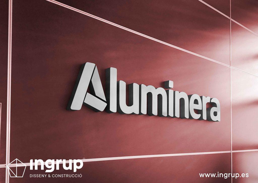 09 rotulación nave industrial aluminera letras corporeas recepcion aluminio pintado ingrup estudi diseno construccion retail granollers barcelona