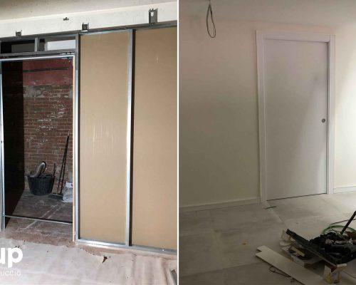 07 instalacion pladur puerta oculta pintura corredera reforma integral local comercial vermuteca interiorismo 3d ingrup estudi diseno construccion retail granollers barcelona