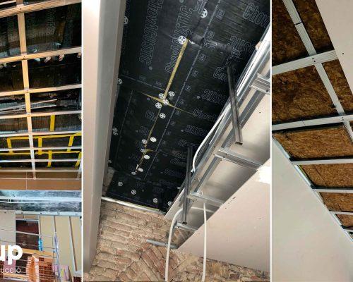 09 fases instalacion aislamiento acustico techo pladur con certificado reforma integral local comercial vermuteca interiorismo 3d ingrup estudi diseno construccion retail granollers barcelona