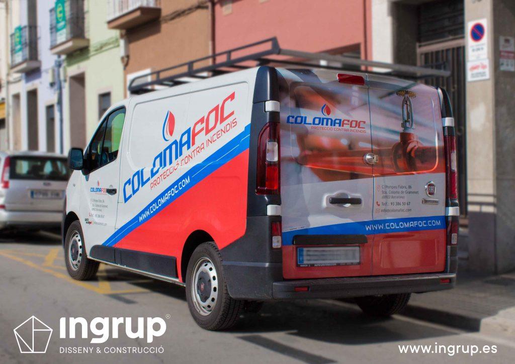 01 rotulación vehiculo furgoneta colomafoc vinilo impresion fabricación propia ingrup estudio diseno construccion retail granollers barcelona