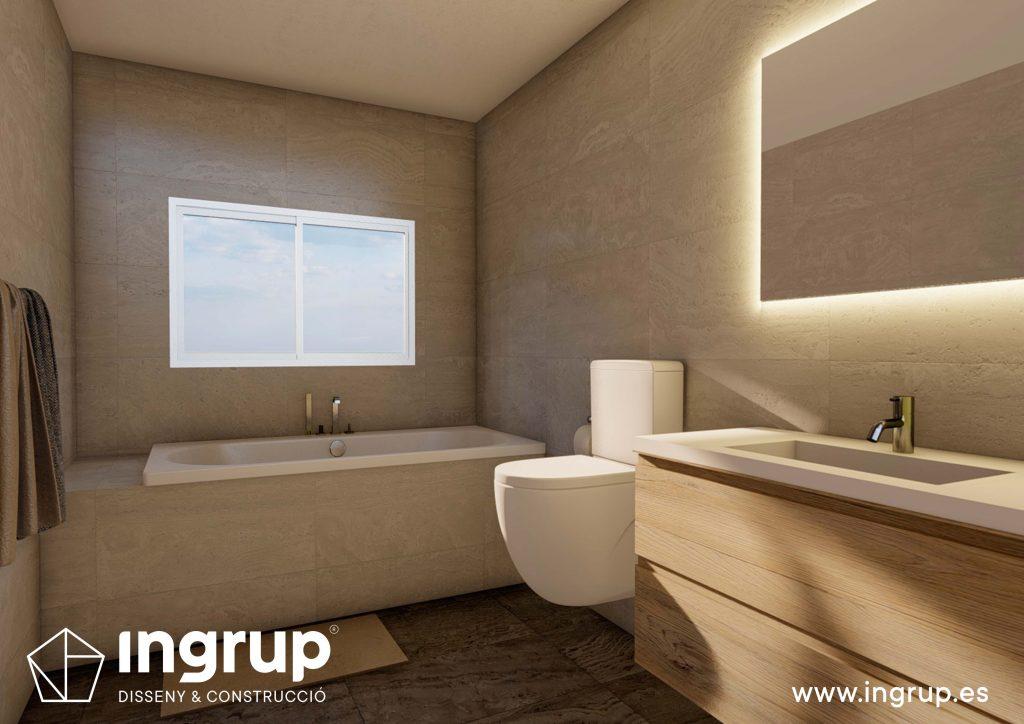 03 3 interiorismo render 3d baño lavabo wc diseno bañera ducha lavar propio integral ingrup estudio diseno construccion retail granollers barcelona