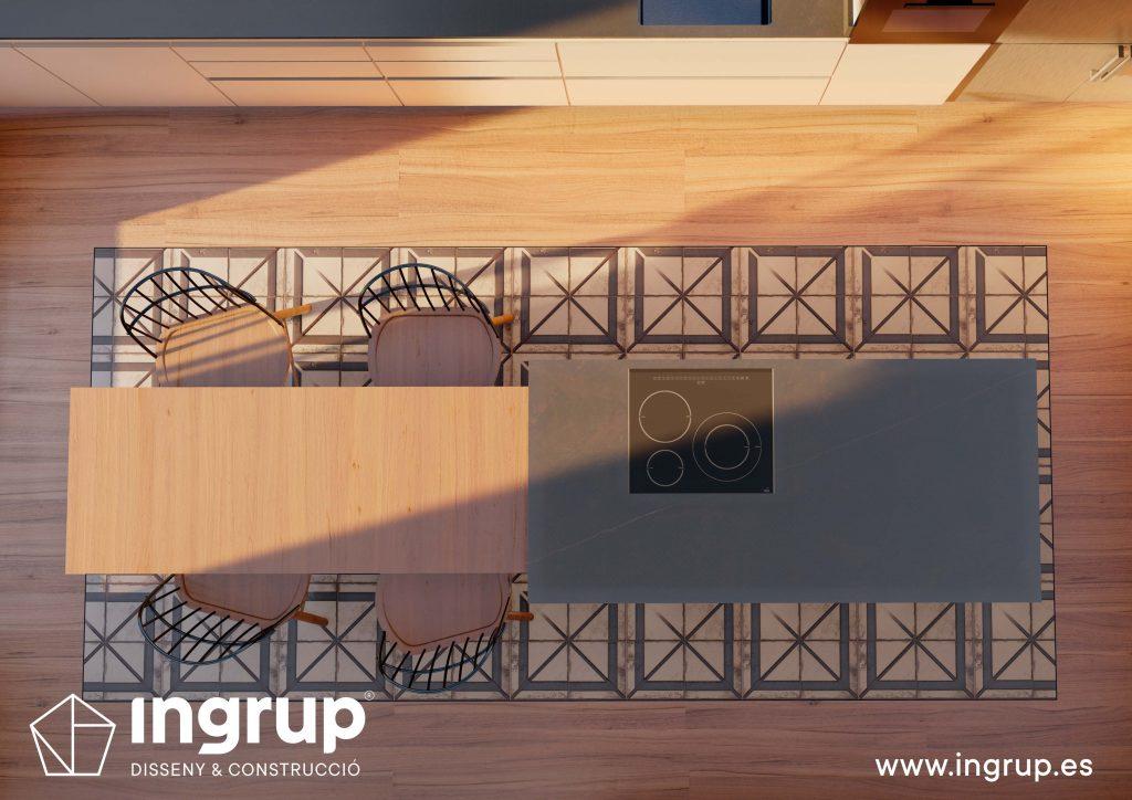 03 4 interiorismo render 3d cocina comedor diseno propio integral ingrup estudio diseno construccion retail granollers barcelona