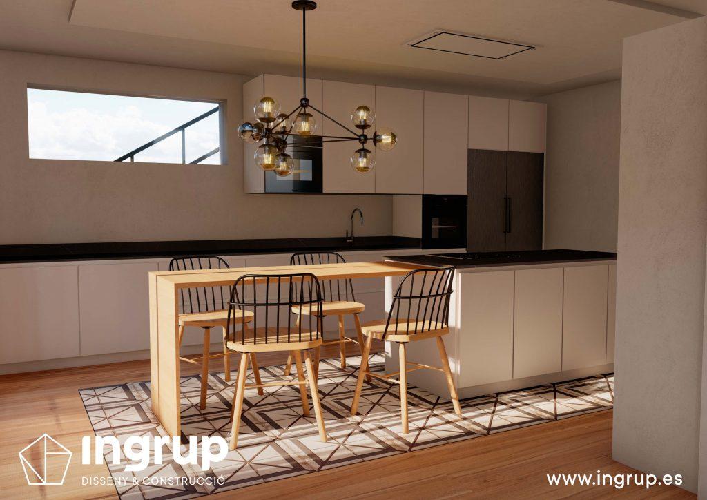 03 6 interiorismo render 3d cocina comedor diseno propio integral ingrup estudio diseno construccion retail granollers barcelona